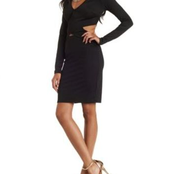 Black Wrap Cut-Out Bodycon Dress by Charlotte Russe