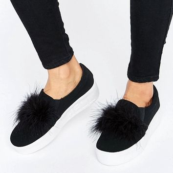 Truffle Faux Feather Flatform Trainer at asos.com