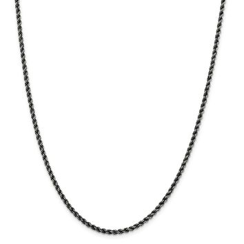 925 Sterling Silver Ruthenium 2.51mm Rope Chain Necklace, Bracelet or Anklet