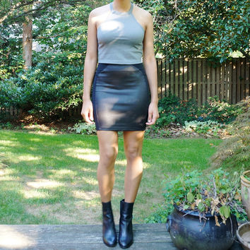 Black faux-leather panel skirt