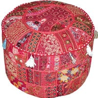 Bohemian Patchwork Pouf Ottoman in Marron-Red Vintage Indian pouffe Foot Stool bean bag HANDMADE Ethnic Pouffe Bean Bag Cover floor pillow