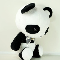 Cute Bellzi Stuffed Animal Black w/ White Contrast Panda Plushie Doll - Pandi