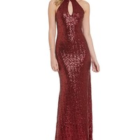 B. Darlin Choker Neckline Long Sequin Mermaid Dress | Dillards