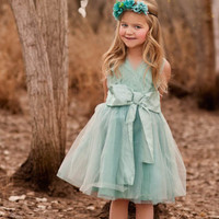 Limpet Shell Blue Big Bow Dress