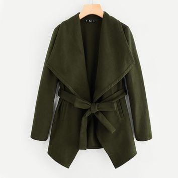 Drape Collar Self Belted Coat Elegant Autumn Winter Trench Coat for Women Green Long Sleeve Casual Women Coats