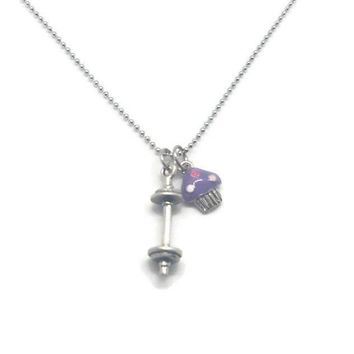 Will Deadlift for Cupcakes Necklace (Various Cupcake Colors)