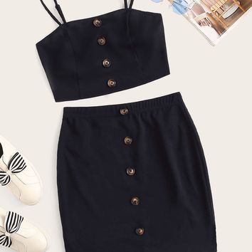 Button Front Cami Top and Skirt Set