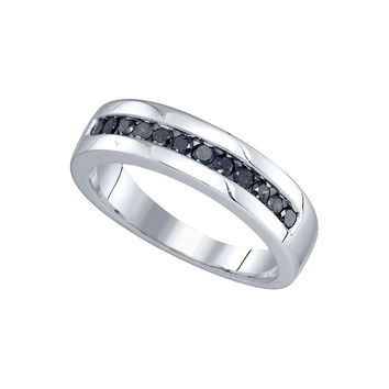 10kt White Gold Mens Round Black Colored Diamond Band Wedding Anniversary Ring 1/2 Cttw 76160