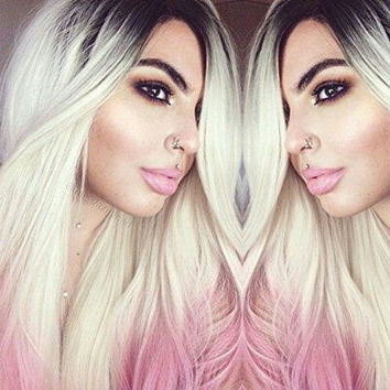 Blonde Ombre Pink Lace Front Wig