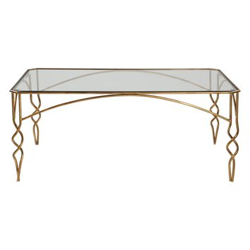 Lora Transitional Antiqued Gold Leaf Rectangular Coffee Table by Uttermost