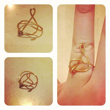 Cursive Monogram Wire Ring in Silver or Gold by TipsyGypsyJewelry