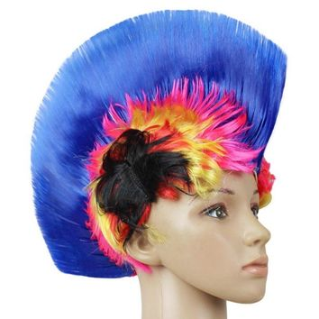 Newest Mohawk Party Wig Halloween Party Punk Hair Festival LED Light Rainbow Wig Cockscomb Hair