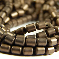 15 Inch Strand - 5x4mm Frosted Bronze Hematite Column Beads - Tube Beads - Gemstone Beads - Jewelry Supplies