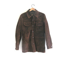 vintage brown suede leather jacket. leather coat. Made in Brazil. Men's Size S