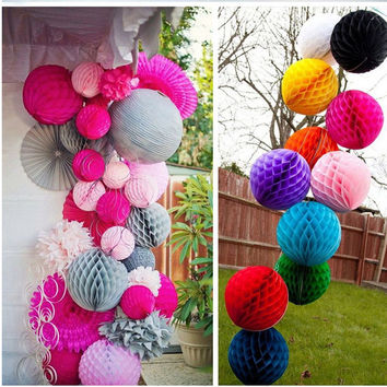 5pcs lot (15cm) Decorative Tissue Paper Honeycomb Balls Flower Birthday Wedding Holiday Party Decorations VBT82 P17 0.5