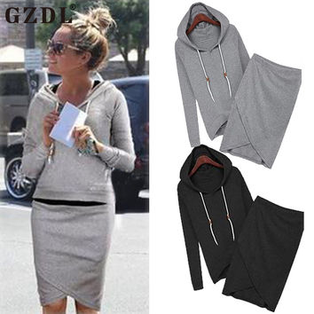 2016 New Skirts Womens Spring Autumn Hoodie Women Long Sleeve Sweatshirt Tracksuits Mini Pencil Skirt Set Two Piece CL1554