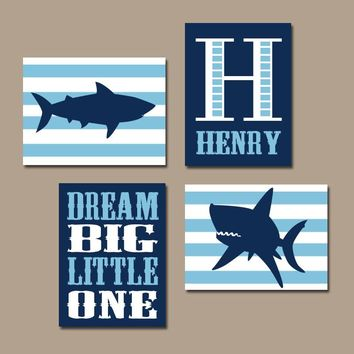 SHARK Wall Art, Baby Boy Nursery Decor, Sharks Nautical Boy Bedroom Ocean Child Navy Blue Monogram Dream Big Set of 4 Canvas or Prints