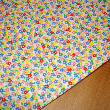 Vintage Fabric Retro Colorful Flower Power Pastel Cotton Remnant
