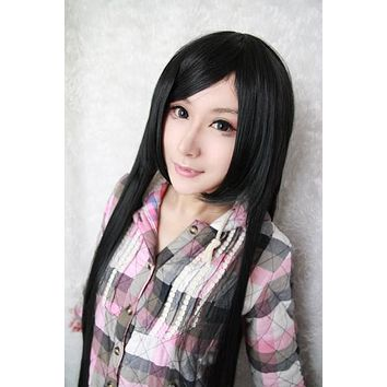 Black Long Wig Candy Colored
