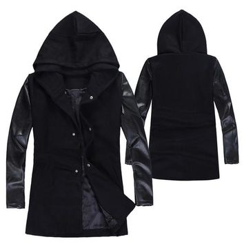 Tide Men Wool Coat Autumn And Winter Style Splicing Leather Sleeves Jacket Middle Long Style Hooded Coat Black