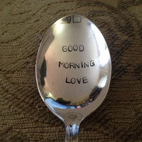 Good Morning Love, vintage silver plate spoon