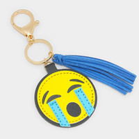Crying Emoji Key Chain with Tassel Charm