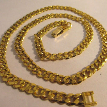 "24K Solid Pure Gold Curb Gucci Link Chain Heavy Necklace 20"" Long #886"