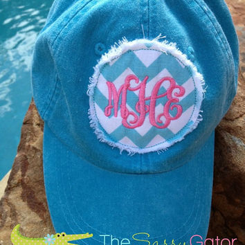 Monogrammed Baseball Hat Cap- Preppy Circle Patch Applique-Ladies-Bridesmaids-Bridal Party-Collegiate-Sport Moms Personalized Hat
