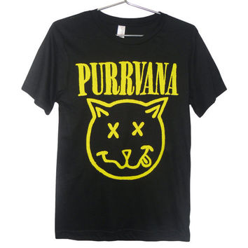 Purrvana Cat T-shirt - Nirvana parody, Kittens, Cats, Drippy Slime Kawaii Grunge