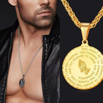 Men Jewelry Praying Hands And Bible Verse Pendant Necklace