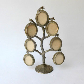 Vintage Mid century silver plate family photo tree stand
