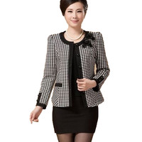 new 2016 autumn spring middle-aged short jacket women casual plaid slim single-breasted plus size 5XL Blazer Free Shipping AE417