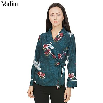 women bird floral wrap shirts crane pattern chic bow tie side split long sleeve  outerwear top