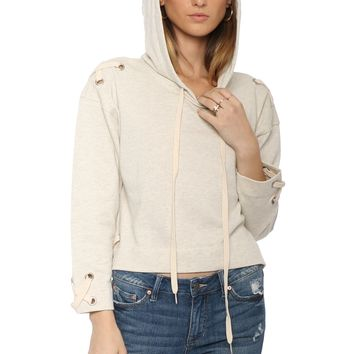 Brooklyn Karma Cross Lace Hoodie Pullover