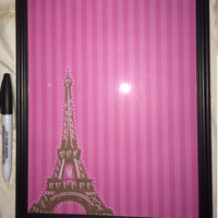 Pink Eiffel Tower Dry Erase Board and Pen