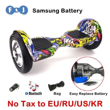 FLJ Hoverboard 10 inch New Self Balancing Scooter Standing Smart Skateboard balance scooter hoverboard Mini big tire long Board
