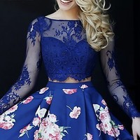 Print Two Piece Long Sleeve Dress by Sherri Hill