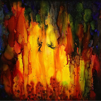 Art Print of artwork Painting Contemporary artwork Liquid colors Abstract light fairies in cave