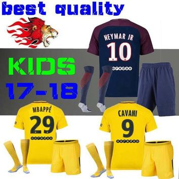 kids Kits child Football Shirt survetement verratti Dani Alves cavani di maria maillot de foot 17 18 boys Mbappe Draxler NEYMAR JR JERSEY