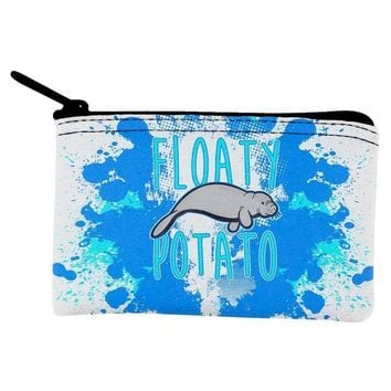 DCCKJY1 Floaty Potato Manatee Funny Grunge Splatter Coin Purse