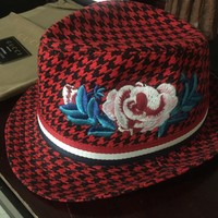 Gucci Sheppard's check patterned Fedora Hat (Exclusive Item!!)