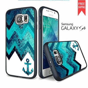 Navy Anchor Chevron Sparkly Samsung Galaxy S6 Case