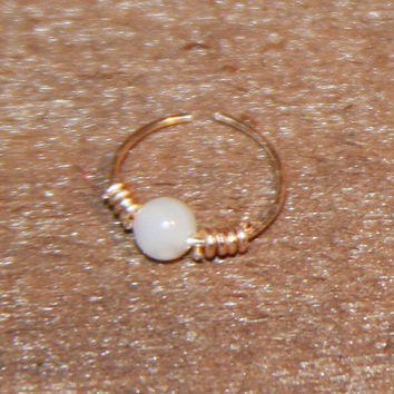 Petite Wire 24 gauge Nose Ring, Mother Of Pearl Nose Ring, Nose Hoop Hoop Earring Cartilage Hoop Endless Hoop Seamless Hoop Piercing Jewelry