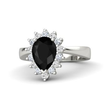 Pear Black Onyx Palladium Ring with Diamond & White Sapphire
