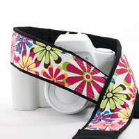 dSLR Camera Strap, Replacement Camera Strap, Retro Flower Power, Pocket, SLR, Mirrorless, Pocket, Quick Release, Camera Neck Strap, 15 w