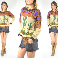 hand knitted DESERT LANDSCAPE scalloped SOUTHWEST sweater jumper, extra small-small