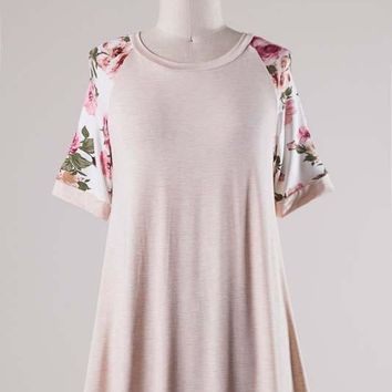 Light Pink Floral Short Sleeve Raglan