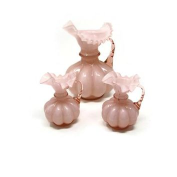 Fenton Rose Overlay Pitchers or Jugs Art Glass, Pink Peach Glass Ruffle Top Melon Art Glass