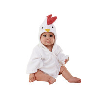 15 Color Children Bathrobe Pure Cotton Good Hydroscopicity Cartoon Cute Sleepwear Pajamas   White chicken