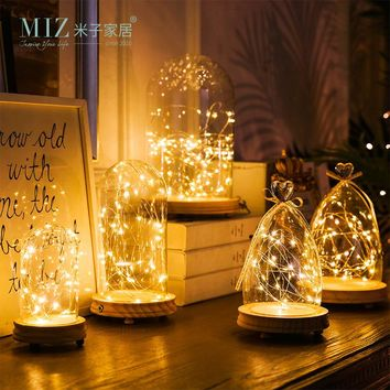 Miz 1 Piece Glass Dome LED Light Christmas Decoration Birthday Gift Lovely Glass Vase for Home Decoration Multi-size Glass Dome